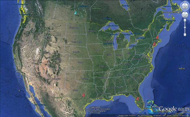 Map of swarms reported 7/7/13 - 7/13/13