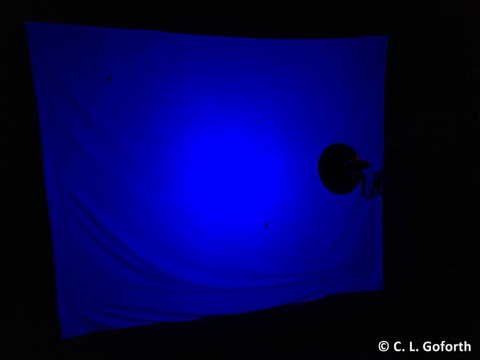 blacklight rig at night